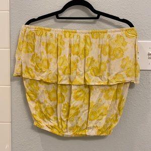 Billabong off the shoulder yellow floral top - L